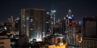 Бангкок, таиланд, город, ночь, небоскребы