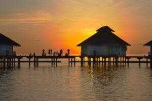 Мальдивы, пляжи, лето, закат