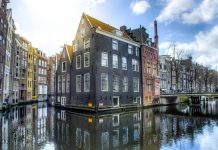 Амстердам, город, каналы, здания
