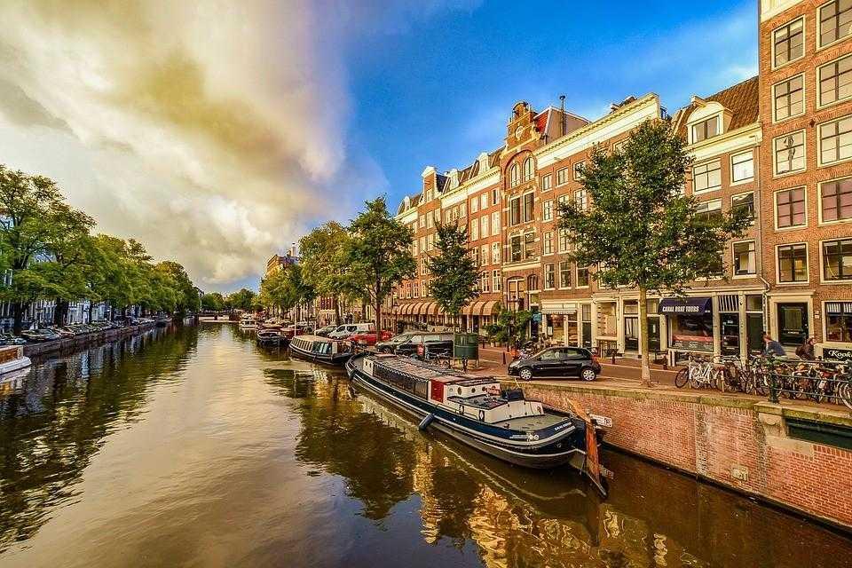 нидерланды, амстердам, канал